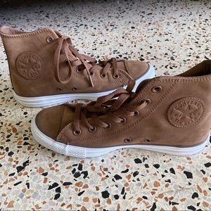 Brown Leather Converse All Stars